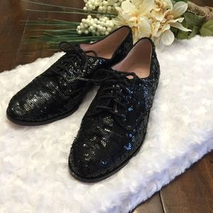 Kate Spade Paxton Sequin Lace Oxfords Black 6.5
